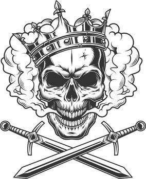 Vintage prince skull in smoke cloud
