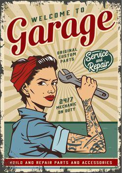Vintage car or garage service poster
