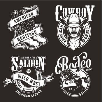 Monochrome wild west labels