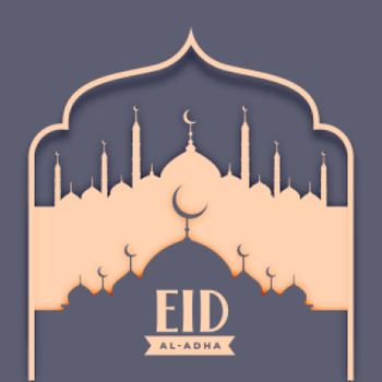 eid al adha islamic card with mosque design