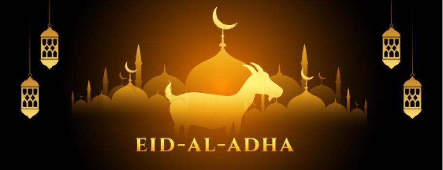 glowing eid al adha bakrid banner