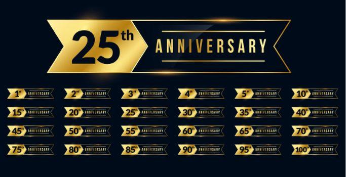 ribbon style anniversary golden labels set