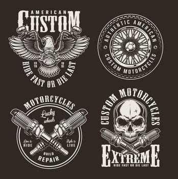 Vintage custom motorcycle labels