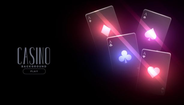 glowing casino playing cards background