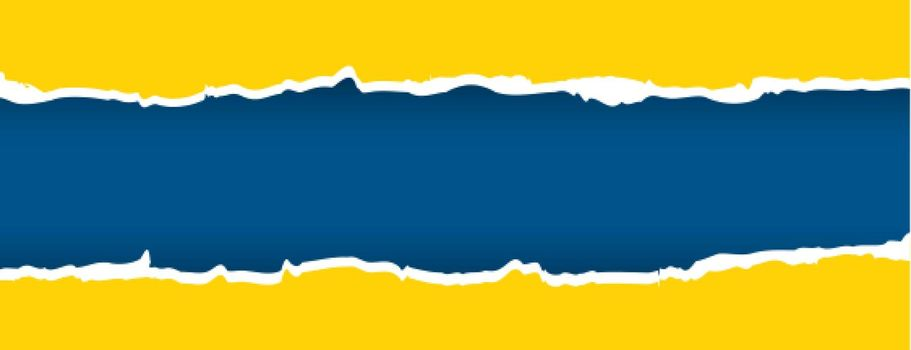 yellow and blue torn paper effect banner
