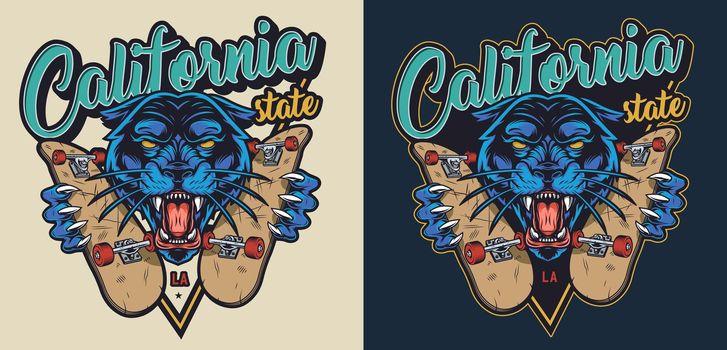 Colorful skateboarding vintage logo