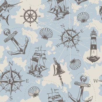 Vintage nautical elements seamless pattern