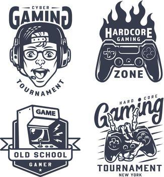 Vintage monochrome gaming labels set