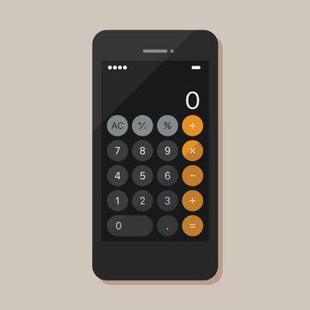Calculator application on smartphone