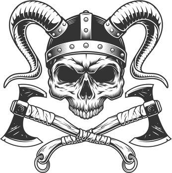 Vintage viking skull without jaw