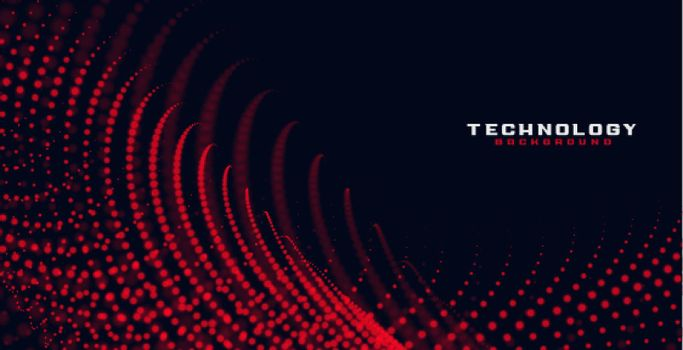 abstract red flowing particles background
