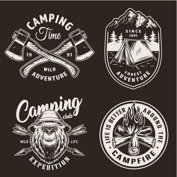 Vintage camping season badges
