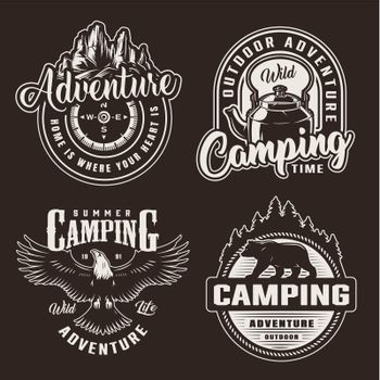 Vintage monochrome summer recreation logotypes
