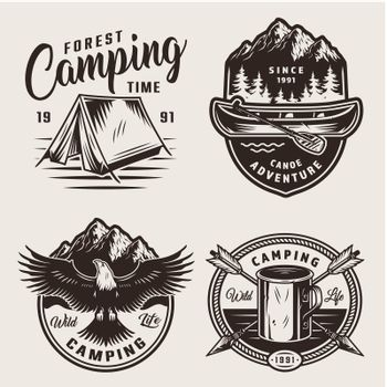 Monochrome summer camping labels