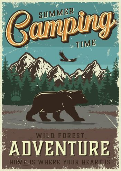 Vintage summer outdoor recreation poster