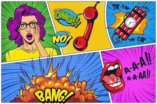 Comic book colorful background