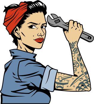 Vintage colorful pin up mechanic girl