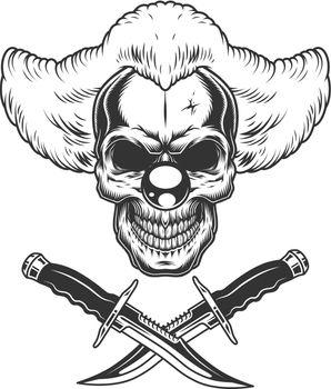 Vintage scary clown skull