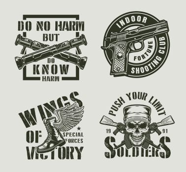Vintage monochrome military labels