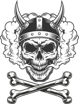 Vintage viking skull wearing horned helmet