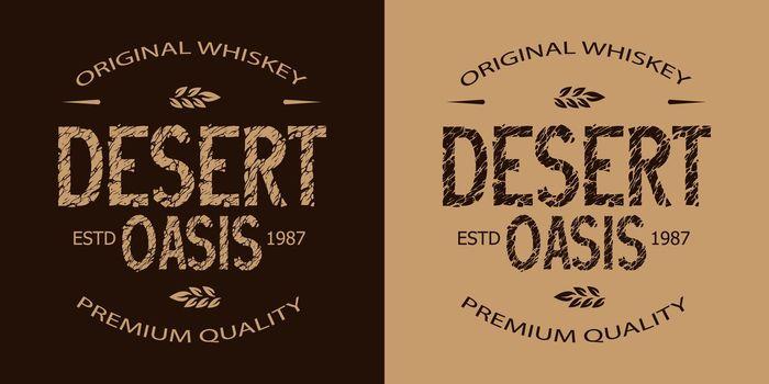 Vintage whiskey monochrome emblem