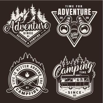 Vintage monochrome camping labels