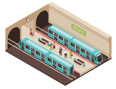 Isometric Metro Station Composition