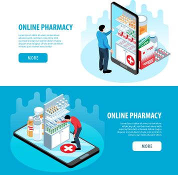 Isometric Pharmacy Horizontal Banners