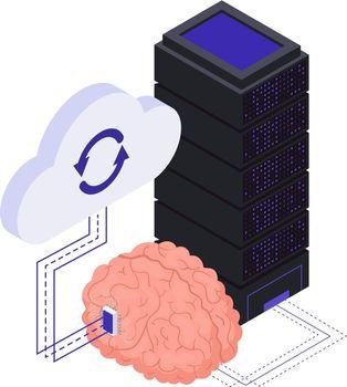 Brain Implants Technologies Isometric Symbols