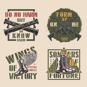 Vintage military colorful labels