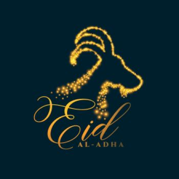 eid al adha background with sparkling face of goat