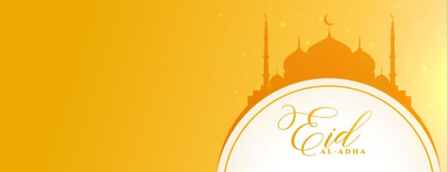 eid al adha decoration banner in yellow banner