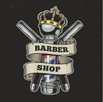 Vintage barbershop colorful logo
