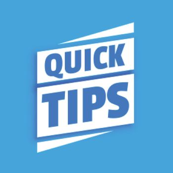 Quick helpful tips advice on blue background