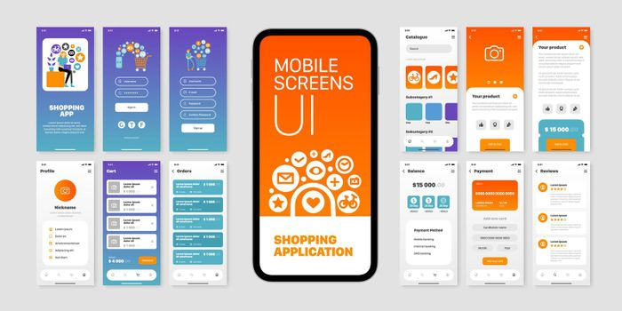 User Interfaces Of Shopping Application