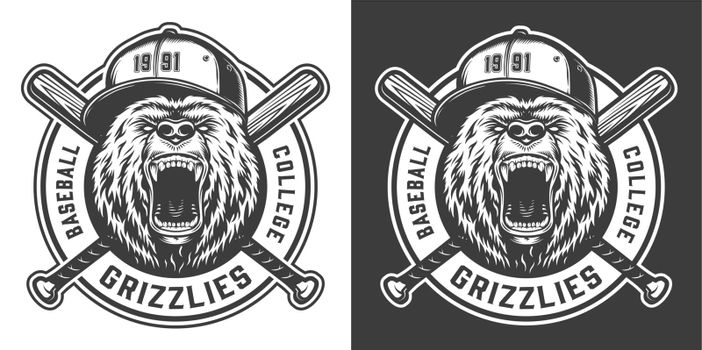 Vintage baseball college team mascot label