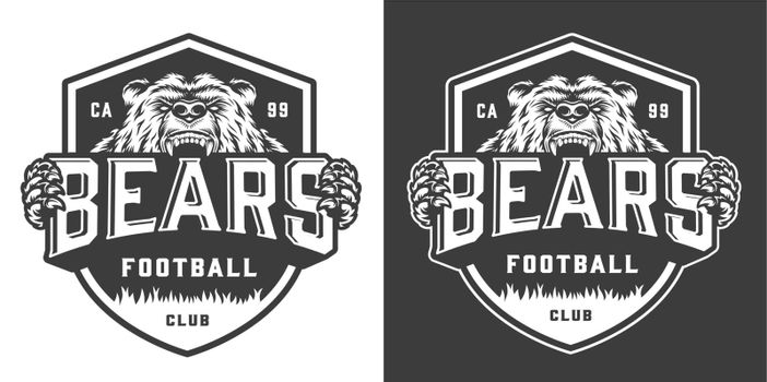 Vintage monochrome football team mascot logo
