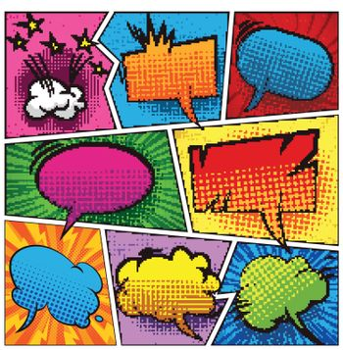 Comic colorful blank speech bubbles set