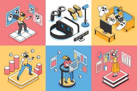 Virtual Reality Concept Icons Set