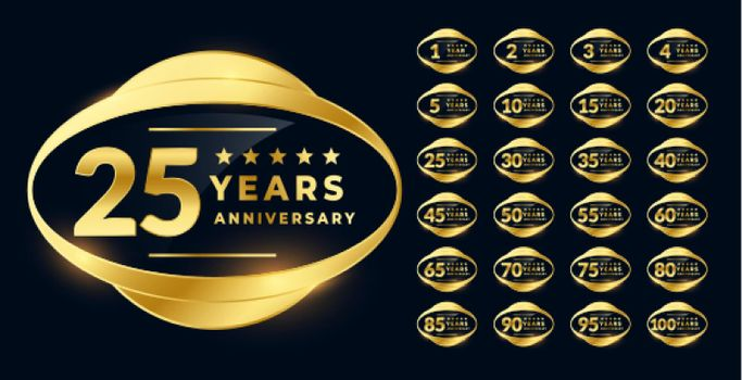 anniversary label badge in golden color