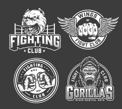 Monochrome vintage fighting logos