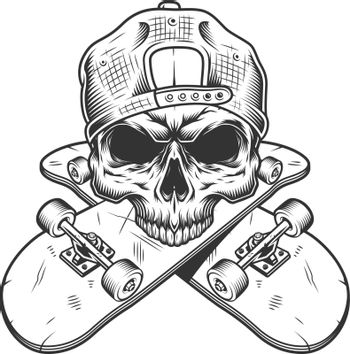 Skateboarder skull without jaw
