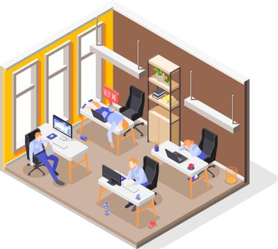 Burn-out Syndrome Isometric Concept