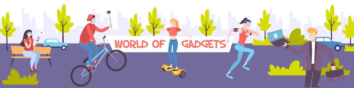 People With Gadgets Banner