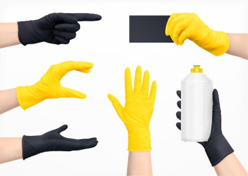 Protective Gloves Realistic Set