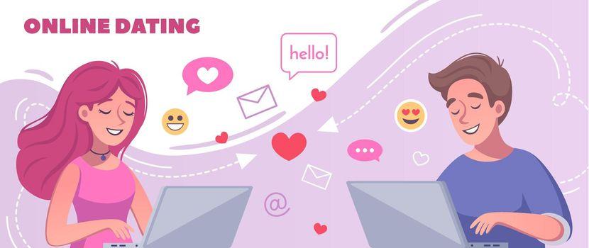 Virtual Dating Cartoon Composition