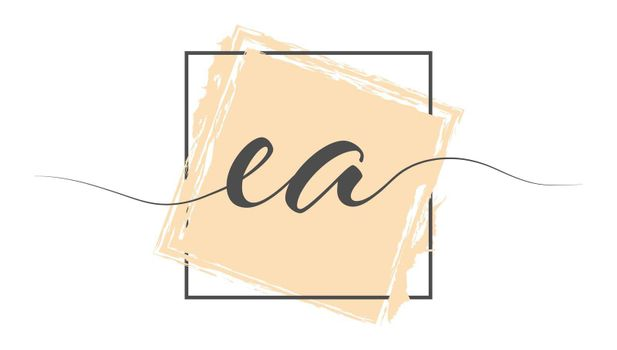 Calligraphic lowercase letters EA in a single line on a colored background in a frame. Vector illustration. Simple Style