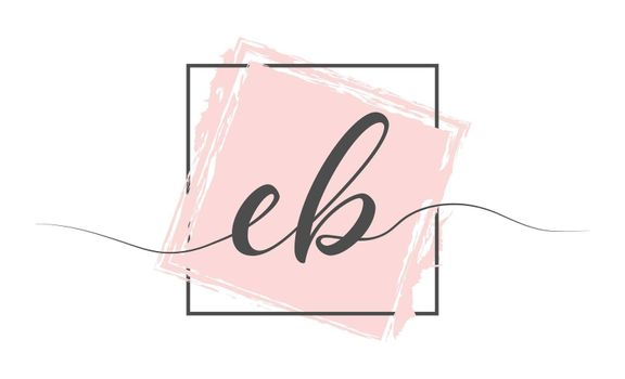 Calligraphic lowercase letters EB in a single line on a colored background in a frame. Vector illustration. Simple Style