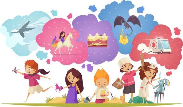 Dreaming Children Doodle Composition
