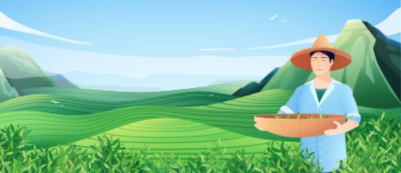 Natural Tea Production Horizontal Poster